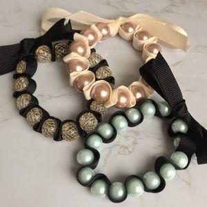 Bundle of Three Chunky Ribbon Beaded Bracelets